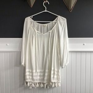 White Boho Style Flowy Top